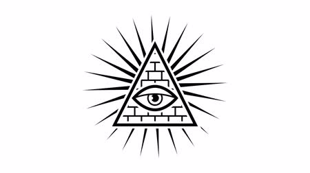 pyramida : All seeing eye. Sign Masons. White background. Alpha channel. Motion graphics