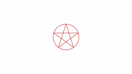 black talisman : Appearance. Pentacle magic sign red color. Drawn lines. Alpha channel. Motion graphics