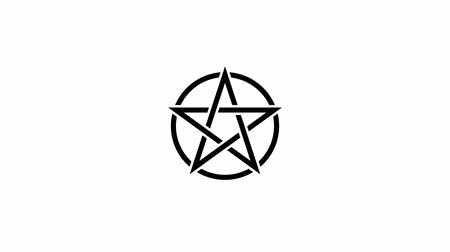 black talisman : Pentacle magic sign black color. Drawn lines. Alpha channel. Motion graphics Stock Footage