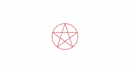 black talisman : Pentacle magic sign red color. Drawn lines. Alpha channel. Motion graphics
