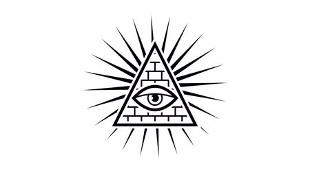 masonic : Appearance. All seeing eye. Sign Masons. White background. Alpha channel. Motion graphics