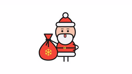 klauzule : Santa Claus holding bag and walking. Alpha channel. Motion graphics. Loop animation