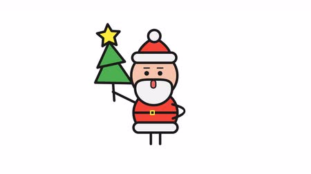 záradék : Santa Claus holding Christmas tree and walking. Alpha channel. Motion graphics. Loop animation