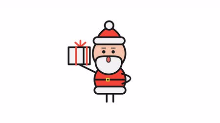 záradék : Santa Claus holding gift and walking. Alpha channel. Motion graphics. Loop animation