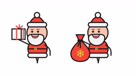 klauzule : Santa Claus holding gift bag and walking. Alpha channel. Motion graphics. Loop animation Dostupné videozáznamy