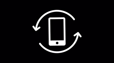 forgat : Mobile phone rotation icon. Animation social networks. Alpha channel. Loop animation. Motion graphics