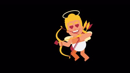 amor : Character Cupid flies and shoots from bow. Alpha channel. Loop animation. Motion graphics Dostupné videozáznamy