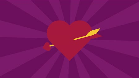 cupido : Cupid flies and shoots from bow. Arrow pierced heart. Video valentine. Loop animation. Motion graphics