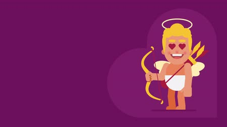amor : Cupid shoots from bow in blind. Background for text. Loop animation. Motion graphics