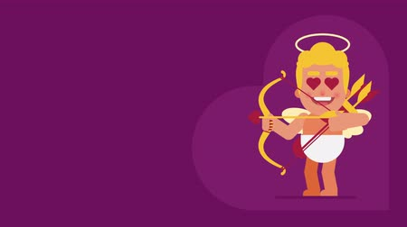amor : Cupid shows language and shoots from bow. Background for text. Loop animation. Motion graphics