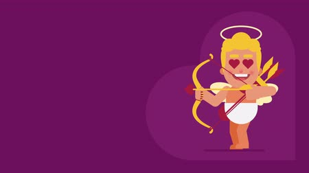 amor : Cupid walks and shoots from bow. Background for text. Loop animation. Motion graphics