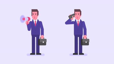 мегафон : Businessman holding suitcase speaks in megaphone speaks in smartphone. Alpha channel. Loop animation. Motion graphics Стоковые видеозаписи