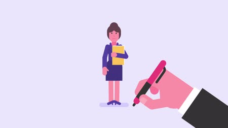 иероглиф : Hand draws. Business woman displeased holding folder. Video concept. Loop animation. Motion graphics