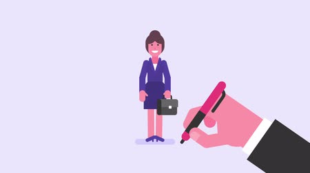 posando : Hand draws. Business woman waving his hand and smiling. Video concept. Loop animation. Motion graphics