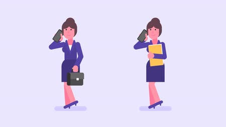 she : Business woman holds suitcase folder and speaks into phone. Alpha channel. Loop animation. Motion graphics