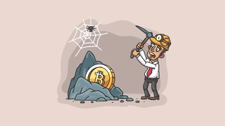 паук : Businessman mines bitcoin. Video illustration rock Bitcoin businessman holding pickaxe. Loop animation. Motion graphics
