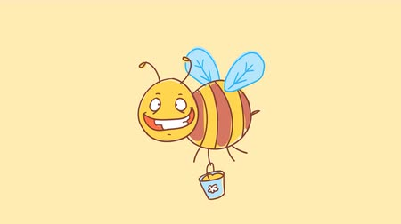 finom : Bee cheerful holds bucket of honey and smiles. Funny character. Alpha channel. Motion graphics