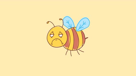 finom : Bee dissatisfied in flight. Funny character. Alpha channel. Motion graphics