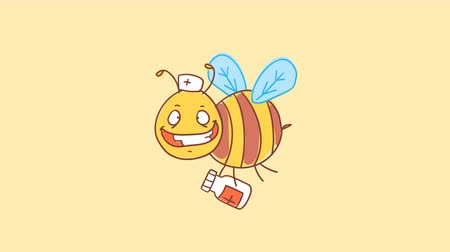 finom : Bee doctor holds medicine and smiling. Funny character. Alpha channel. Motion graphics Stock mozgókép