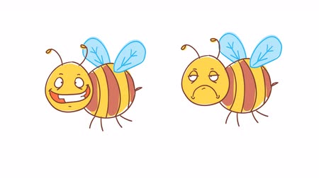 čmáranice : Bee happy and displeased. Funny character. Alpha channel. Motion graphics