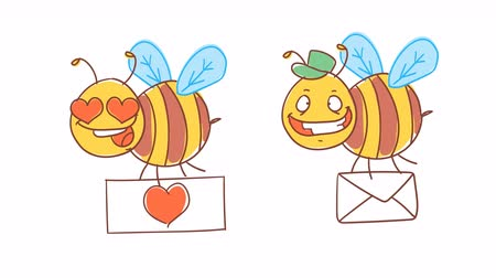 čmáranice : Bee holding sign with heart and holding letter. Funny character. Alpha channel. Motion graphics