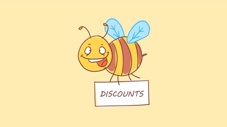 čmáranice : Bee holding sign with inscription discounts. Funny character. Alpha channel. Motion graphics