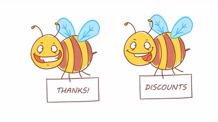 čmáranice : Bee holding sign with inscription thanks and discounts. Funny character. Alpha channel. Motion graphics