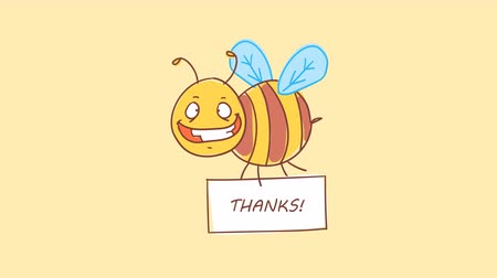 čmáranice : Bee holding sign with inscription thanks. Funny character. Alpha channel. Motion graphics