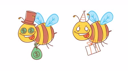 čmáranice : Bee holds money and gift. Funny character. Alpha channel. Motion graphics