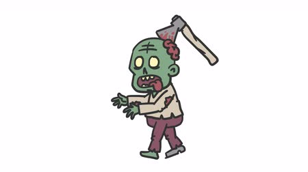 Zombie character is coming. Alpha channel. Loop animation Dostupné videozáznamy