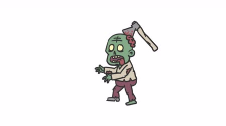 komický : Zombie character is walking along. Alpha channel. Loop animation