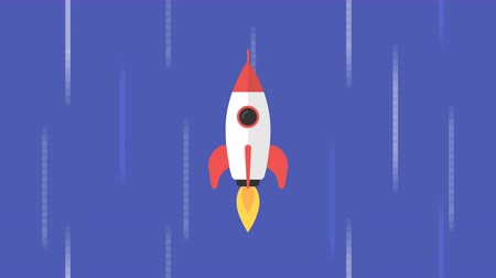 Rocket flies through starry sky. Concept background. Motion graphics. Loop animation Dostupné videozáznamy
