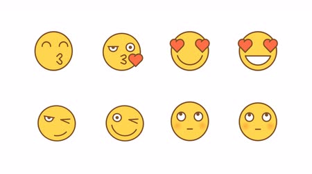 félénk : Emoticons stickers set kiss love wink shy. Animated Emoticons. Alpha channel. Looping starts from 2s