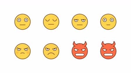 Emoticons stickers set serious angry demon. Animated Emoticons. Alpha channel. Looping starts from 2s Dostupné videozáznamy