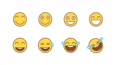 mascot : Emoticons stickers set smiles laughter. Animated Emoticons. Alpha channel. Looping starts from 2s Stock Footage
