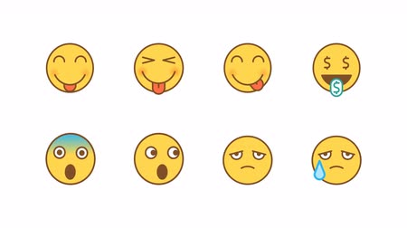 歯を見せる : Emoticons stickers set shows language scared upset. Animated Emoticons. Alpha channel. Looping starts from 2s