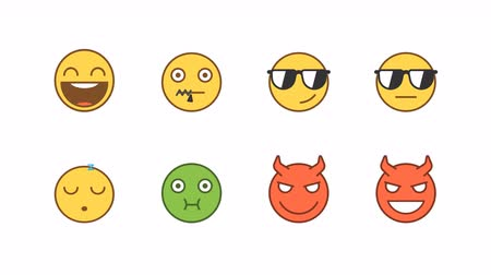 Emoticons stickers set laughing cool sleeping sick demon. Animated Emoticons. Alpha channel. Looping starts from 2s Dostupné videozáznamy