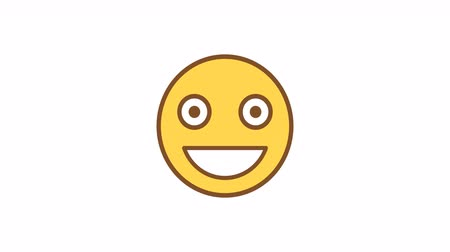 mascot : Emoticon average smiling. Animated Emoticons. Alpha channel. Looping starts from 2s