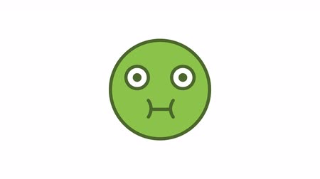 Emoticon green nausea. Animated Emoticons. Alpha channel. Looping starts from 2s