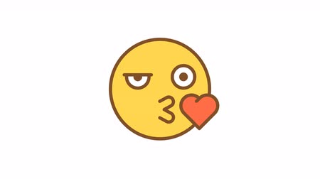 Emoticon kiss and wink. Animated Emoticons. Alpha channel. Looping starts from 2s