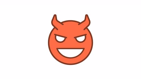 Emoticon sly demon smirks. Animated Emoticons. Alpha channel. Looping starts from 2s