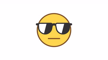 Emoticon wearing glasses and serious. Animated Emoticons. Alpha channel. Looping starts from 2s