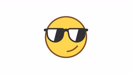 Emoticon wearing glasses and smiling. Animated Emoticons. Alpha channel. Looping starts from 2s