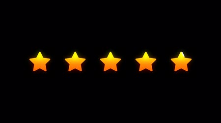 değerlendirme : Rating five stars. Two options animation. Alpha channel. Motion graphics Stok Video