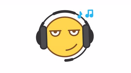 Emoticon listens music on headphones option 1. Animated Emoticons. Alpha channel. Looping starts from 2s