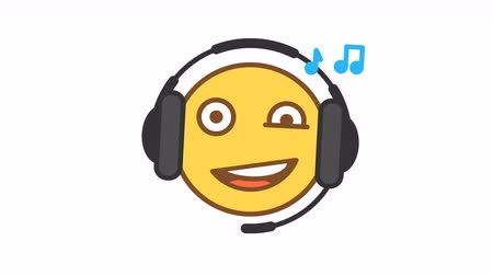 Emoticon listens music on headphones option 2. Animated Emoticons. Alpha channel. Looping starts from 2s