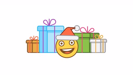 emoticon : Emoticon in santa claus hat and gift boxes. Alpha channel. Motion graphics