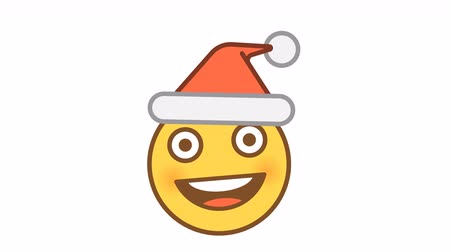Emoticon in santa claus hat. Animated Emoticons. Alpha channel. Looping starts from 2s