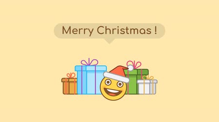 Emoticon in santa claus hat and gift boxes. Christmas concert. Alpha channel. Motion graphics
