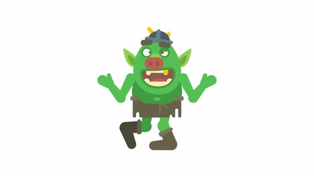 manó : Troll character dancing and smiling. Alpha channel. Loop animation. Motion graphics Stock mozgókép